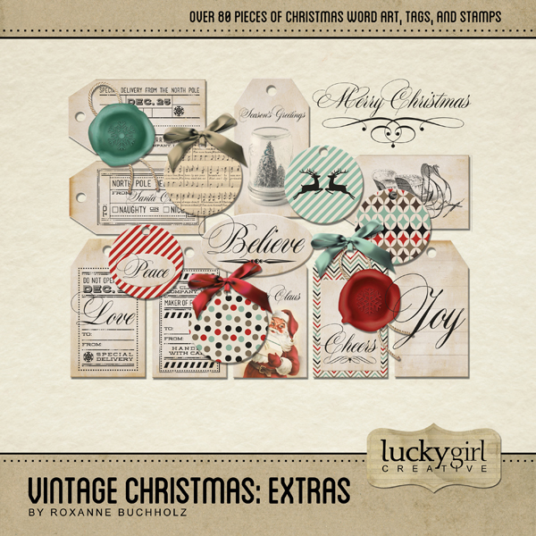 Vintage Christmas Extras Digital Art - Digital Scrapbooking Kits