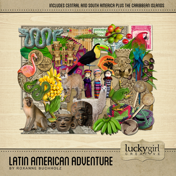 Latin American Adventure Digital Art - Digital Scrapbooking Kits