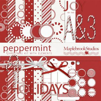 Peppermint Christmas Kit Digital Art - Digital Scrapbooking Kits