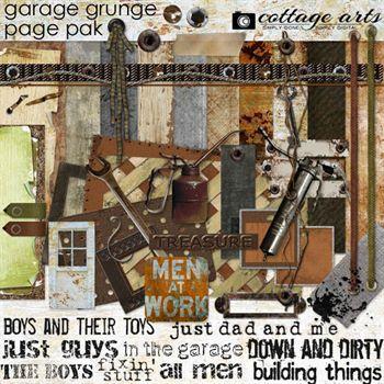 Garage Grunge Page Pak Digital Art - Digital Scrapbooking Kits