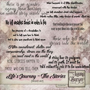 Lifes Journey- The Stories Word Art
