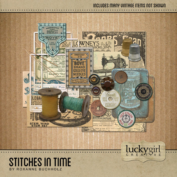 Stitches In Time Digital Art - Digital Scrapbooking Kits