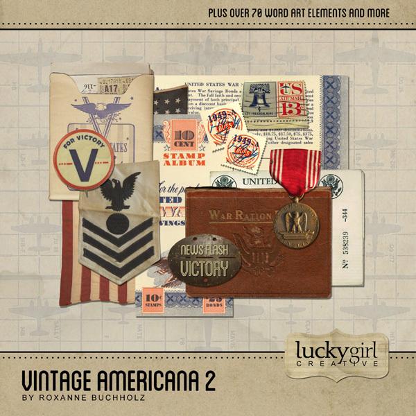 Vintage Americana 2 Digital Art - Digital Scrapbooking Kits