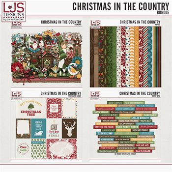 Christmas In The Country - Bundle Digital Art - Digital Scrapbooking Kits