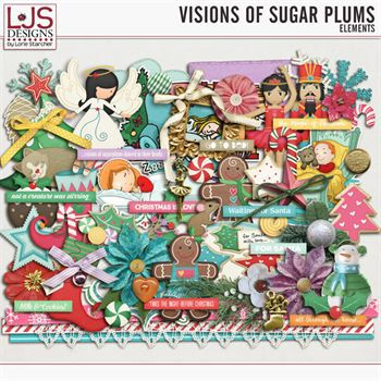 Visions Of Sugar Plums - Elements Digital Art - Digital Scrapbooking Kits