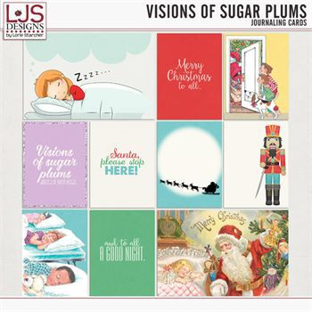 Visions Of Sugar Plums - Journal Cards Digital Art - Digital Scrapbooking Kits
