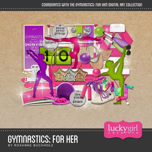 Gymnastics For Her Digital Art - Digital Scrapbooking Kits