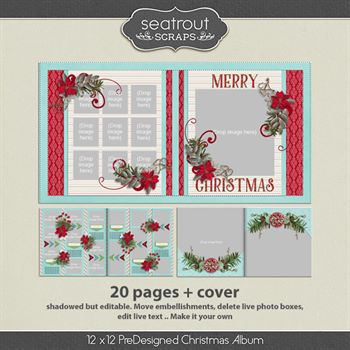 12 X 12 Christmas Predesigned Editable Album