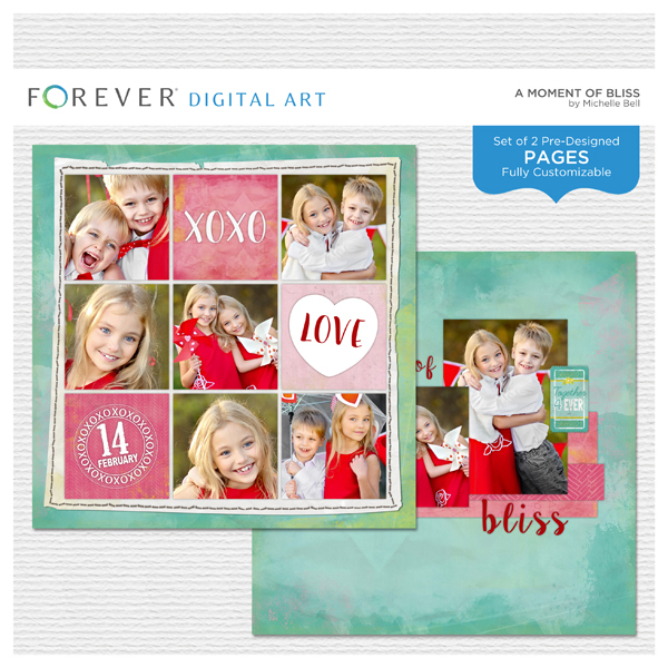 A Moment Of Bliss Pre-designed Pages Digital Art - Digital Scrapbooking Kits