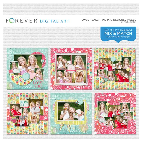 Sweet Valentine Pre-designed Pages Digital Art - Digital Scrapbooking Kits