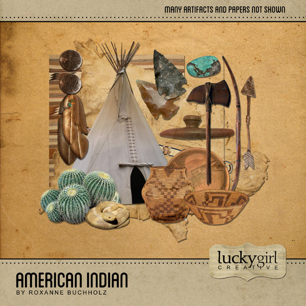 American Indian Digital Art - Digital Scrapbooking Kits