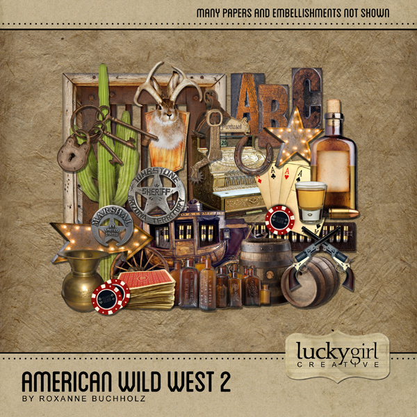 American Wild West 2 Digital Art - Digital Scrapbooking Kits