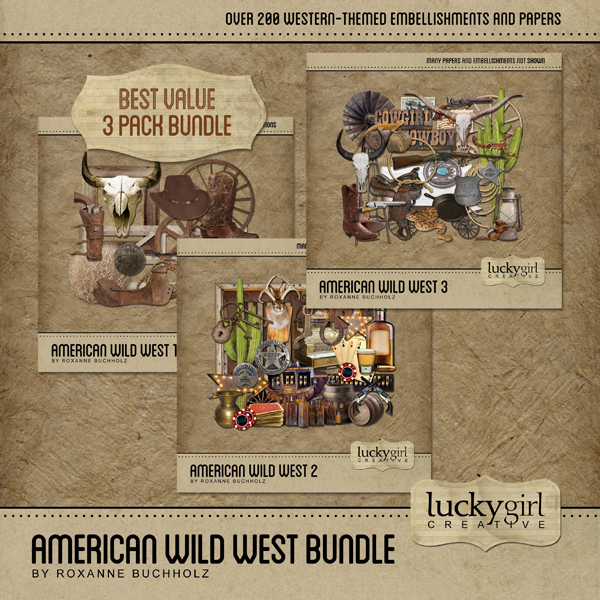 American Wild West Bundle Digital Art - Digital Scrapbooking Kits