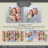 12 X 12 Silver 25th Anniversary Predesigned Editable Album
