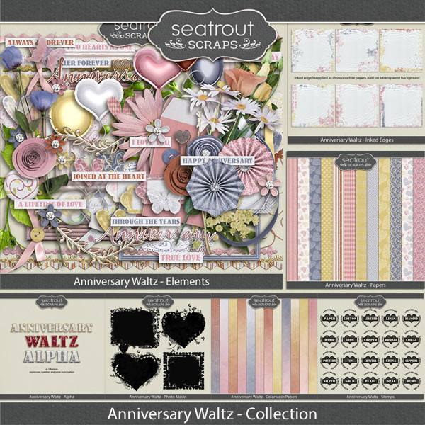 Anniversary Waltz Bundle Digital Art - Digital Scrapbooking Kits