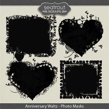 Anniversary Waltz Photo Masks Digital Art - Digital Scrapbooking Kits