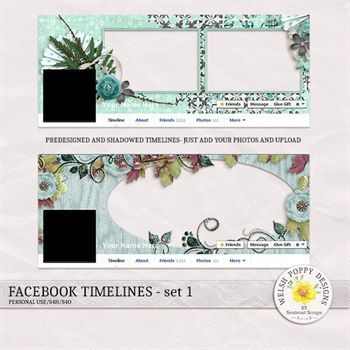 Facebook Timelines Set 1 Digital Art - Digital Scrapbooking Kits