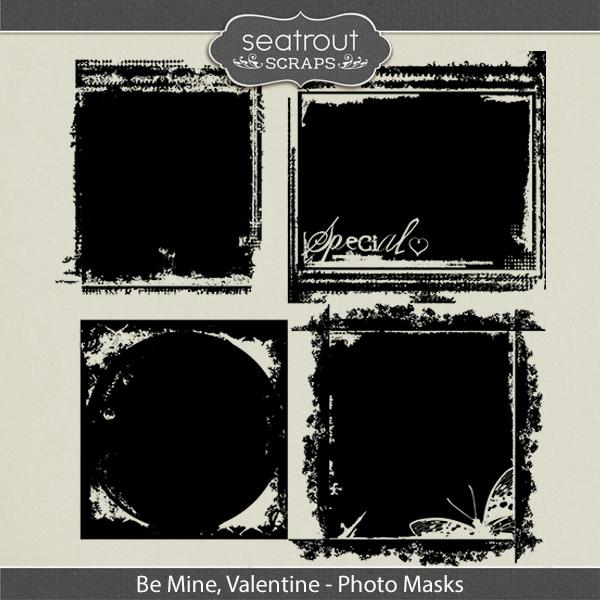 Be Mine, Valentine Photo Masks Digital Art - Digital Scrapbooking Kits