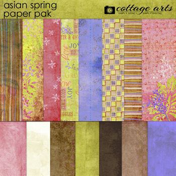 Asian Spring Paper Pak Digital Art - Digital Scrapbooking Kits