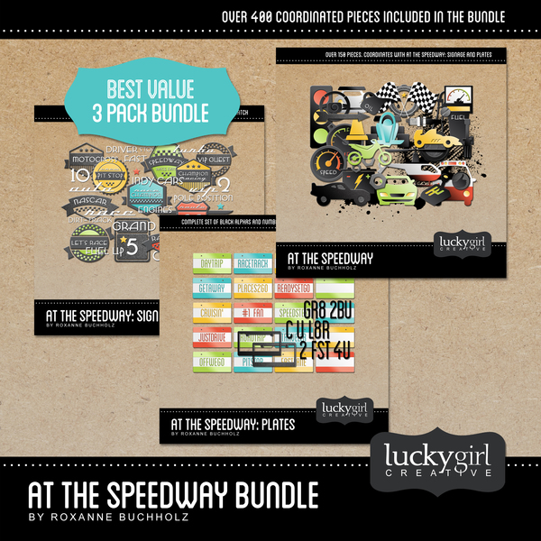 At The Speedway Bundle Digital Art - Digital Scrapbooking Kits