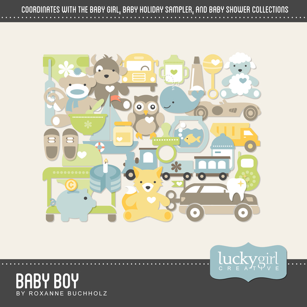 Baby Boy Digital Art - Digital Scrapbooking Kits