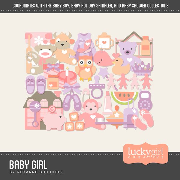 Baby Girl Digital Art - Digital Scrapbooking Kits