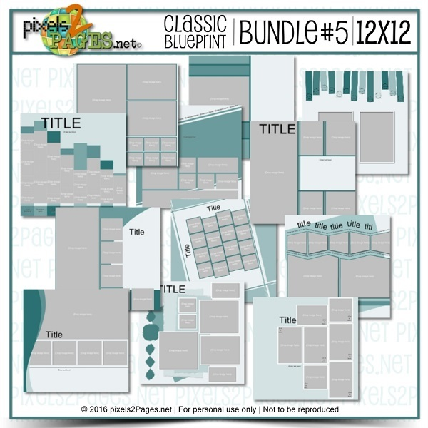 12x12 Classic Blueprint Bundle #5 Digital Art - Digital Scrapbooking Kits