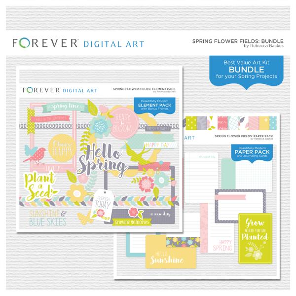 Spring Flower Fields Bundle Digital Art - Digital Scrapbooking Kits