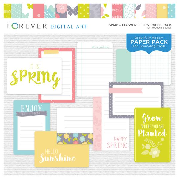 Spring Flower Fields Paper Pack Digital Art - Digital Scrapbooking Kits
