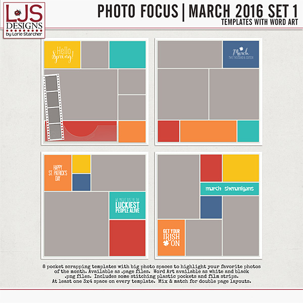 Photo Focus - March 2016 Set 1 Digital Art - Digital Scrapbooking Kits