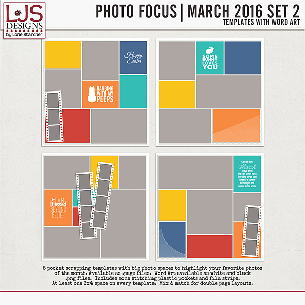 Photo Focus - March 2016 Set 2 Digital Art - Digital Scrapbooking Kits