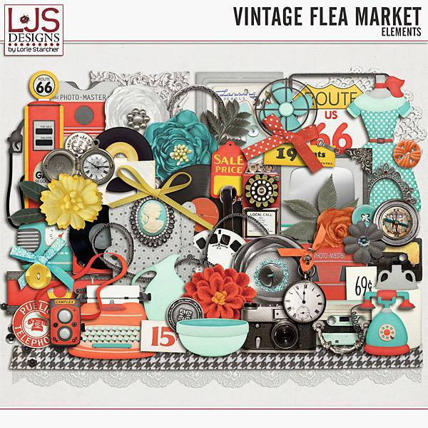 Vintage Flea Market - Elements Digital Art - Digital Scrapbooking Kits