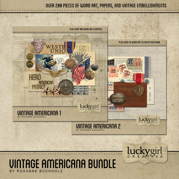 Vintage Americana Bundle Digital Art - Digital Scrapbooking Kits