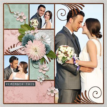 One Moment In Time Predesigned Page Digital Art - Digital Scrapbooking Kits