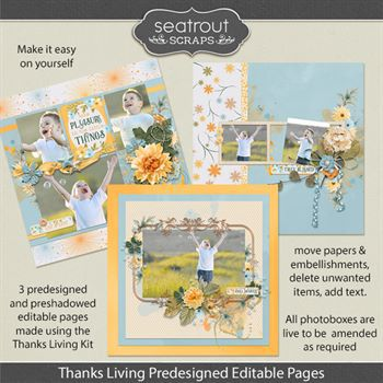 Thanks Living Predesigned Editable Pages Digital Art - Digital Scrapbooking Kits