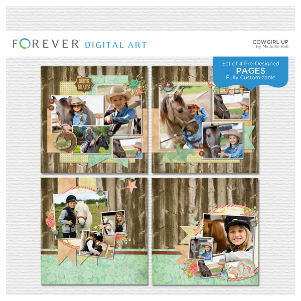 Cowgirl Up Pre-designed Pages Digital Art - Digital Scrapbooking Kits