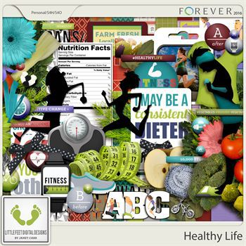 Healthy Life Digital Art - Digital Scrapbooking Kits