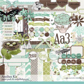 Antibes Scrapbooking Kit Digital Art - Digital Scrapbooking Kits