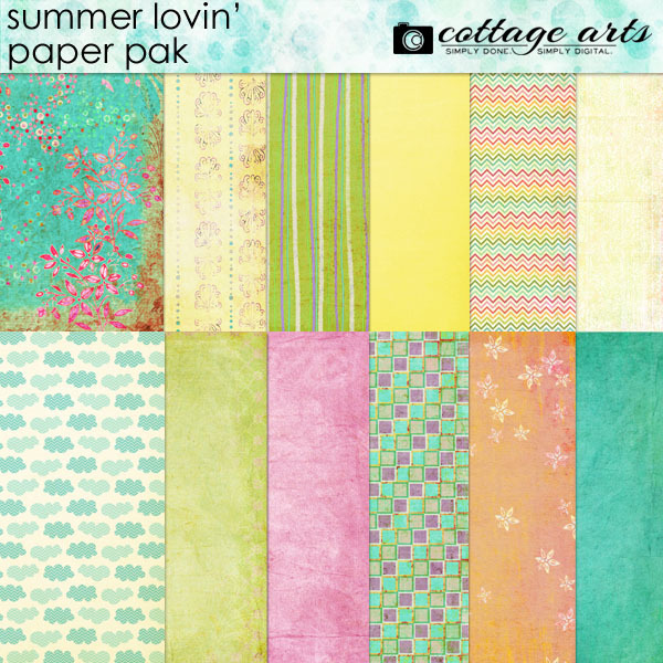 Summer Lovin' Paper Pak Digital Art - Digital Scrapbooking Kits