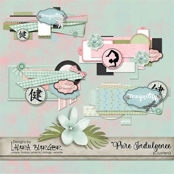 Pure Indulgence Clusters Digital Art - Digital Scrapbooking Kits