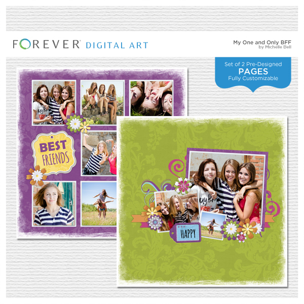 My One And Only BFF Pre-designed Pages Digital Art - Digital Scrapbooking Kits