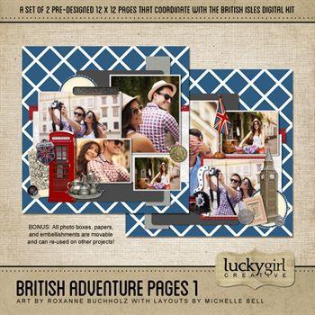 British Adventure Pages 1 Digital Art - Digital Scrapbooking Kits