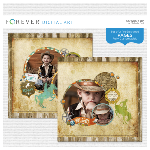 Cowboy Up Pre-designed Pages Digital Art - Digital Scrapbooking Kits