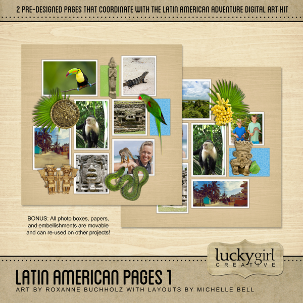 Latin American Pages 1 Digital Art - Digital Scrapbooking Kits