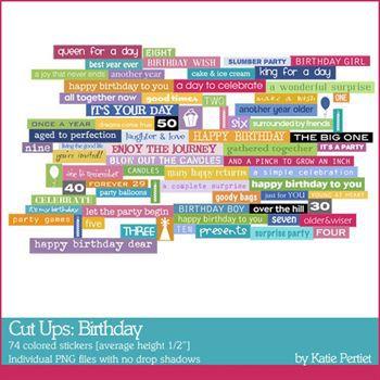 Cut Ups Birthday Digital Art - Digital Scrapbooking Kits