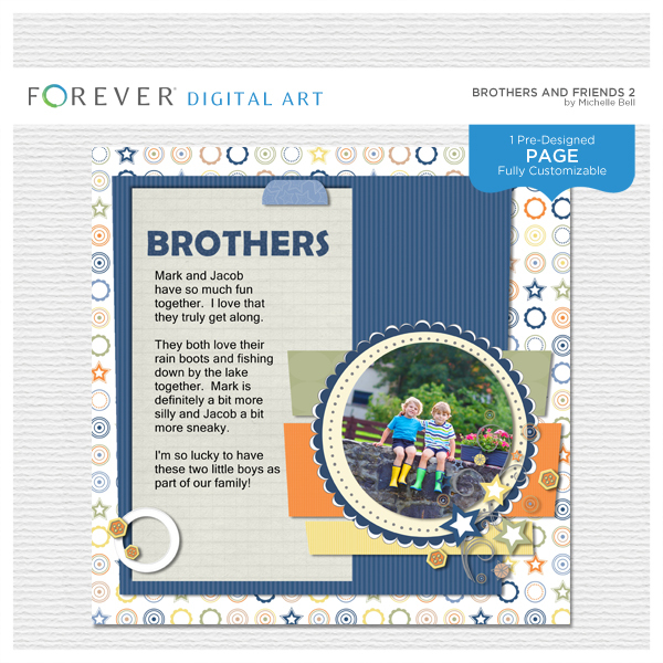 Brothers And Friends 2 Pre-designed Page Digital Art - Digital Scrapbooking Kits