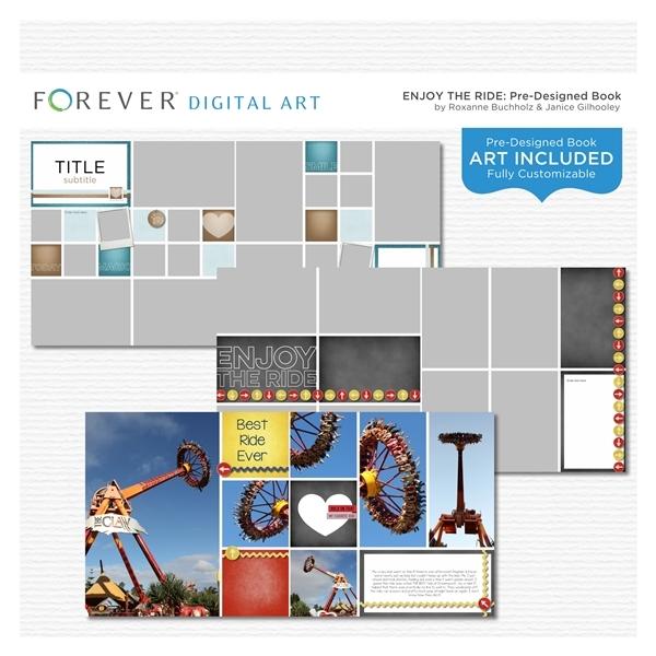 Enjoy The Ride Pre-designed Book Digital Art - Digital Scrapbooking Kits