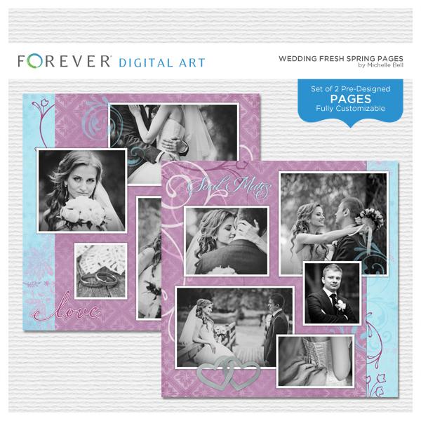 Wedding Fresh Spring Pages Digital Art - Digital Scrapbooking Kits