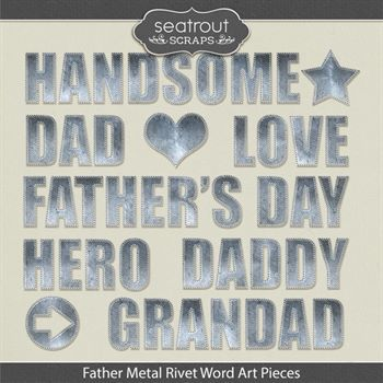 Father Metal Rivet Word Art Pieces