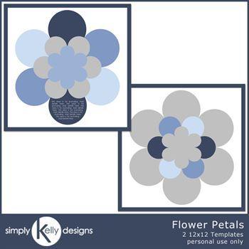 Flower Petals 12x12 Template Set
